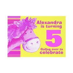 Kids pony 5th birthday pink yellow birthday invite by My Little Eden