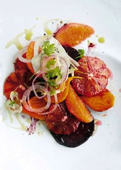 on the menu: blood orange, beet, and fennel salad