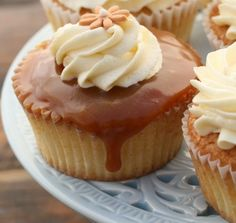 vanilla cupcake with vanilla buttercream and salted caramel
