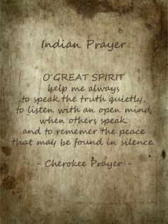 ~Cherokee Prayer~