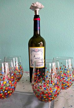 DIY handpainted wine glasses for inexpensive christmas gift!