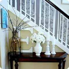 small foyer, entry tables, big letters, foyer idea, front doors, hous, foyer decor, under stairs, entryway