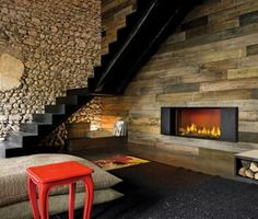 .lush modern fireplaces, interior design, rustic interior, fireplace design, modern rustic, stone walls, fireplace wall, accent walls, wood walls