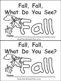 "This emergent reader little book is a great way to begin reading with young students. This story uses a predictable pattern, ""Fall, fall, what do you see?"" to support emerging readers. This story includes several Fall vocabulary words, such as fall, squirrel, tree, red leaf, orange leaf, yellow leaf, brown leaf, and pumpkin."