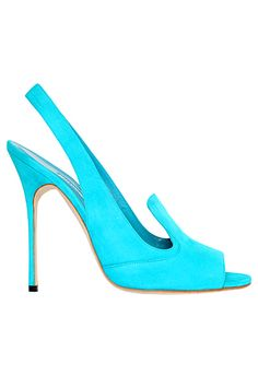 Manolo Blahnik Turquoise Slingback Sandal Spring-Summer 2013 #Manolos #Shoes #Heels