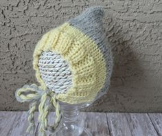 Baby Bonnet Hat Angora and Merino Soft Newborn Beanie Bonnet in Light Yellow and Grey Baby Beanie Accessories  Children Hat Photo Prop