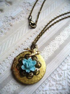 Vintage brass locket rose cabochon blue flower by botanicalbird