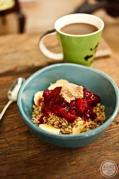 Breakfast | Greek yogurt topped with banana, cranberry sauce, granola ...