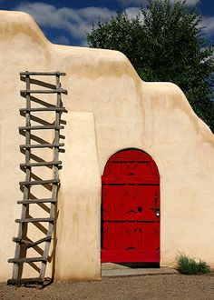 Red door, Taos, New Mexico