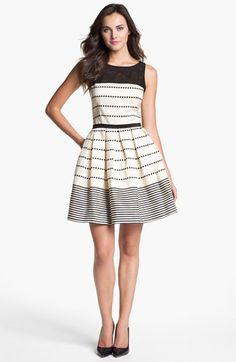Taylor Dresses Stripe Fit & Flare Dress available at #Nordstrom