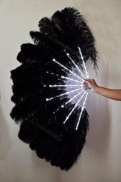 LED Dance Fans | Dance Black Glittery LED Shine Bushy Double Ostrich Feather Fan ...