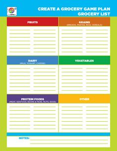 Organize your #grocery list by #foodgroup with this handout from #MyPlate! #nutrition #mealplanning http://go.usa.gov/8XpV