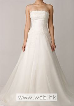 Strapless A-line Cathedral Train Scalloped Edge Wedding Dress