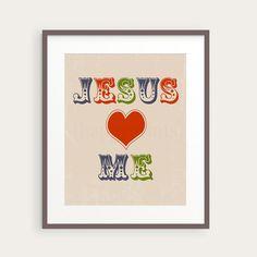 Jesus Loves Me Christian Nursery or Kid's Room by happyprintsshop