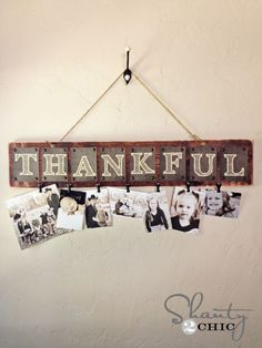 Free Printable Thankful Photo Board - maybe clip notes or photos of what everyone who will be present for the holiday is thankful and then read them before or after dinner
