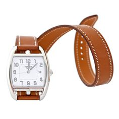 Hermes Stainless Steel Cape Cod Double Strap Wristwatch