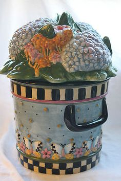 Debbie Mumm BEAUTIFUL Hydrangeas Flowers Cookie Jar MINT | eBay