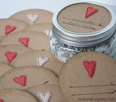 "Mason Jar Gift Labels - Heavy kraft paper jar tops with machine stitched lines for labeling and a tiny little freehand wool felt embellishment. By etsy seller ""mudandtwig"". Love these."
