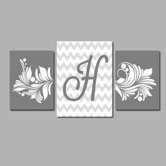 Charcoal Grey White Chevron Swirl Monogram Initial Letter Set of 3 Trio Prints two 8x10 and one 11x17 Wall Decor Abstract Art Picture