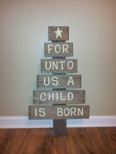 For Unto Us A Child Is Born by Funontheporch on Etsy, $45.00