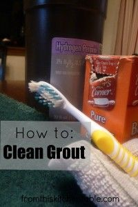How to clean Grout | Only 2 ingredients and some elbow grease needed! I couldn't believe the difference it made in my bathroom!