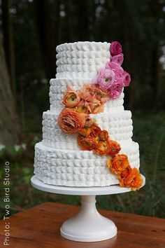 Cascading Pink & Orange Flowers Four-Tiered Cake