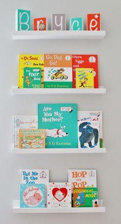 Project Nursery - Gray Striped Orange and Aqua Nursery Books