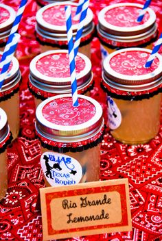 Mason jars, bandana cupcake liners, paper straws for a cowboy party