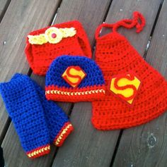 Handmade, Crochet Superman Super Hero Inspired Photo Prop For Newborn Photography, matching set with hat, diaper cover, leg warmers and cape. $45.00, via Etsy.