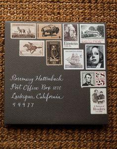 car accessories, vintag stamp, stamp art, black tie wedding, letter, vintage stamps, envelop, mail art, white ink
