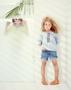J.Crew Girls embroidered stripe tunic, cowgirl jean roll-up short. To preorder call 800 261 7422 or email erica@jcrew.com.