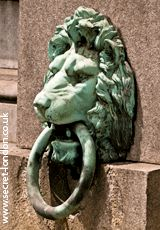 These lion heads line both sides of the Embankment, staring out over the River Thames. Their mouths hold mooring rings and it is said that if the lions drink, London will flood. They were sculpted by Timothy Butler for Bazalgette's great sewage works in 1868-70.