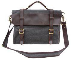 Amazon.com: Gootium Canvas Genuine Leather Messenger Bag