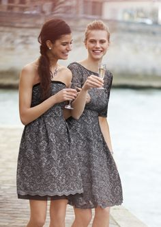 We're so excited for our new bridesmaid dresses featuring gorgeous lace detailing! #davidsbridal #fall2014