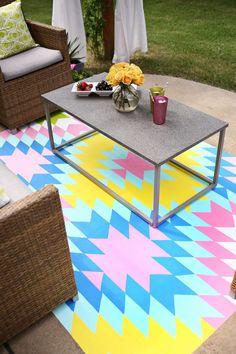 outdoor paint, rug diy, outdoor rugs, paint rug, painted floors