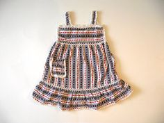 Girls Smocked Dress 2T 3T  / Red White and Blue Sundress / Vintage Toddler Clothes