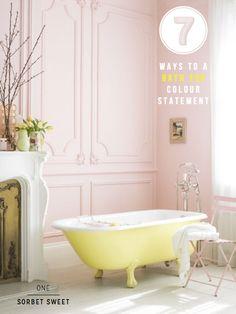 yellow-bath-tub darling! baths, pink bathrooms, interior, pastel, dream, color, clawfoot tubs, bathtub, pale pink