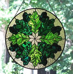 Stained Glass Oak Leaves
