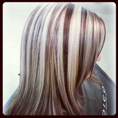 Blonde & Dark Red Highlights! Schedule with one of the stylists at Salons at Stone Gate in Cypress/NW Houston ~ (281) 256-2204 ~www.salonsatstonegate.com #blondes #highlights #hilites