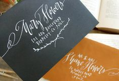 business cards, paper, font, lettering styles, script, envelop, branches, white ink, hand lettering