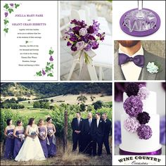 Plum and Lavender Inspiration Board for a wine country or vineyard weddding. - Wine Country Occasions, www.winecountryoccasions.com