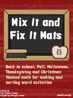 FREEBIE!! This 14 differently themed mats for making words, spelling or phonics practice. Themes include: back to school, fall, halloween, Thanksgiving and Christmas.