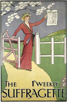 Advertisement for The Suffragette newspaper. This poster, designed by Mary Bartels, represents the Suffragette as a feminine 'womanly' woman. The Suffragette was launched as the official newspaper of the Women's Social and Political Union in 1912. Its launch represented a split in the Union as Emmeline and Fred Pethick-Lawrence were purged from the leadership by Emmeline and Christabel Pankhurst. 1914.