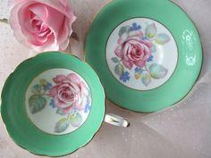 Vintage Paragon English Fine Bone China Pink Green by jenscloset, $33.50