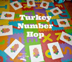 turkey number hop - a fun, active way to practice numbers, sight words, letter recognition, math facts & more