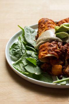 Butternut squash and black bean enchiladas.