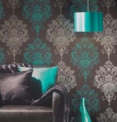 stunning wall paper choc, teal and silver