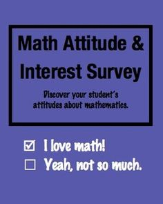 Math Attitude and Interest Survey for Elementary Students FREE