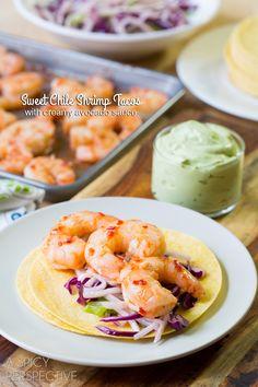 Sweet Chile Shrimp Tacos with Jicama Slaw and Avocado Cream! #thai #tacos #spring #summer