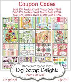 Digital Scrapbook & Clip Art #Coupon Codes https://www.etsy.com/shop/DigiScrapDelights